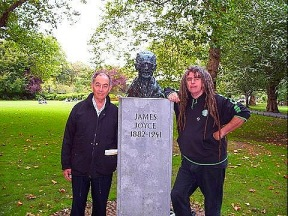 Ciaron and Dan at grave of James Joyce