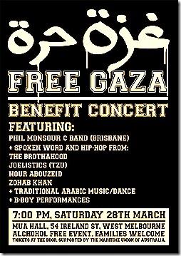 Phil Monsour Gaza Concert in Melbourne