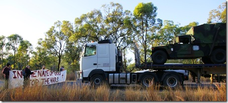Military vehicles were blocked for over an hour and a half this morning on a major access road to the Talisman Sabre war games exercise area in Shoalwater Bay, QLD