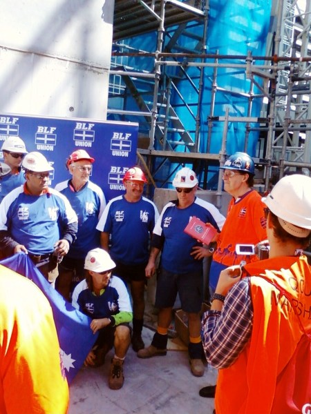 Kane Pearson - BLF organises photo shoot at building site at waterfront place, Brisbane