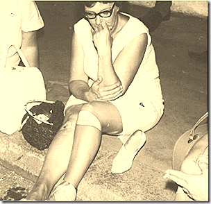 Norma Chalmers at Ky Demonstration contemplatesd her broken ankle