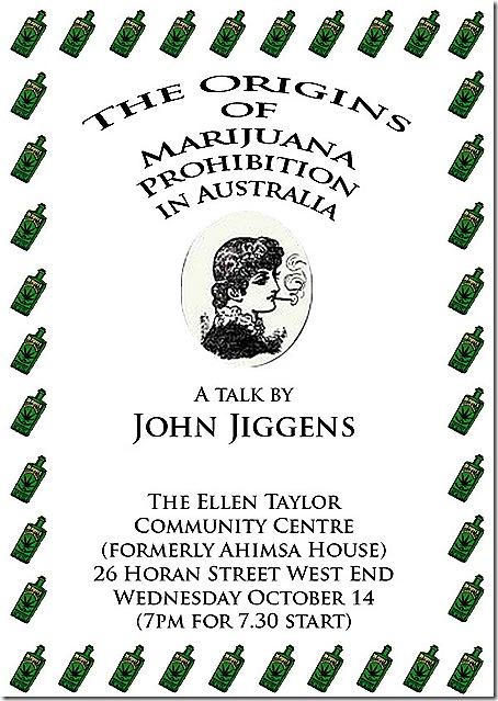 Marihuana prohibition in Oz JOHN Jiggens poster