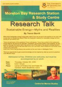 Trevor Berrill at Moreton Bay Research Station