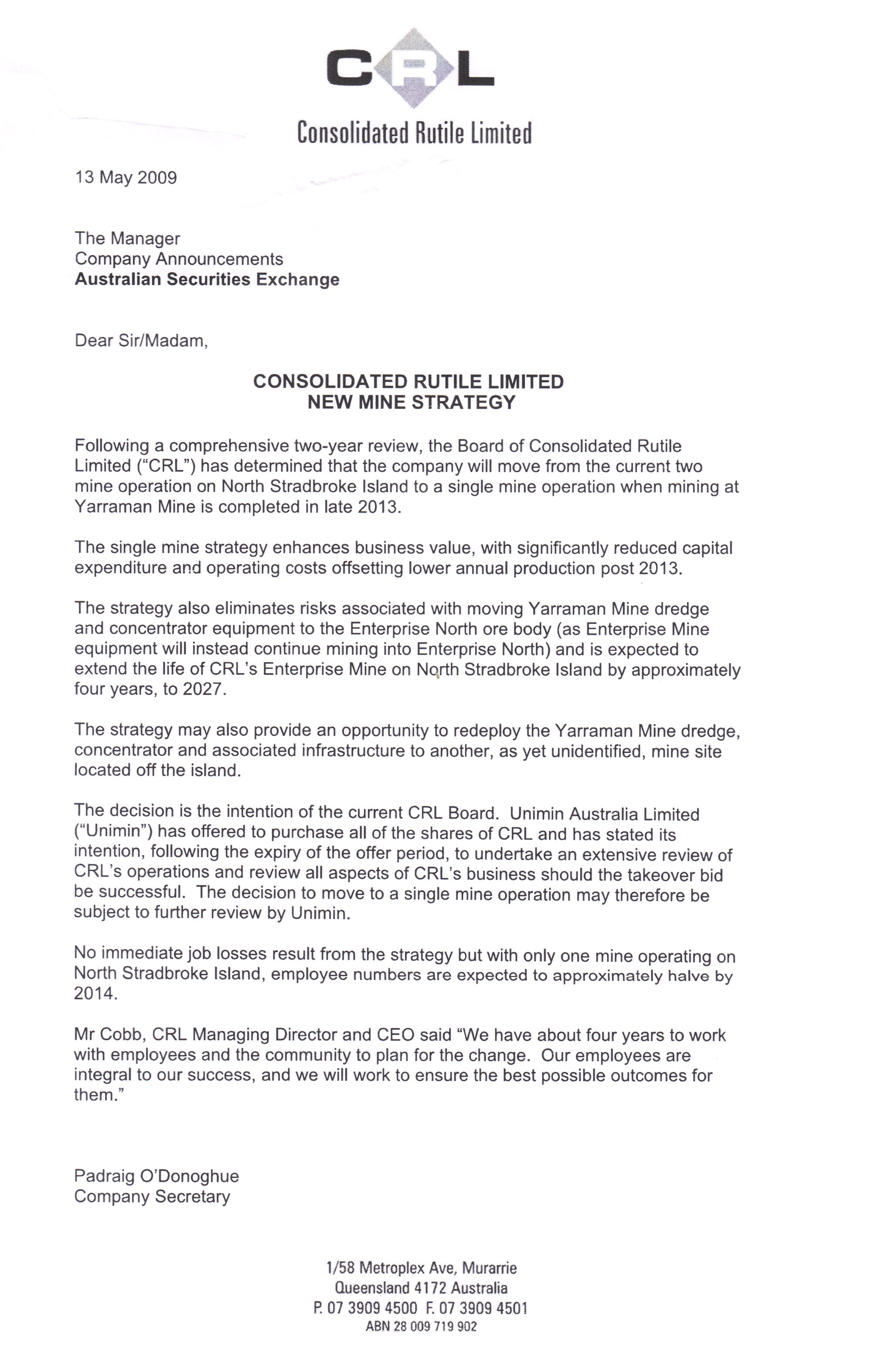 CRL letter to ASX re mining on Straddie
