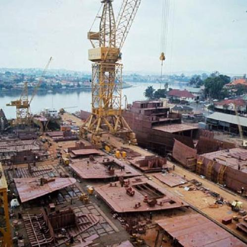 Evans Deakin shipyard at Kangaroo Point Brisbane in 1968