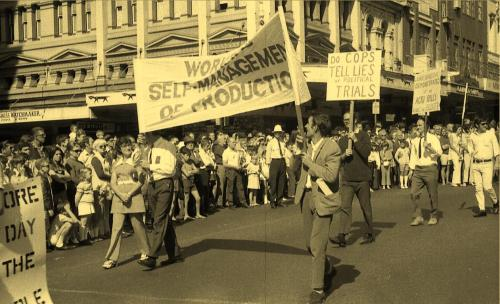 Workers self-management group in May Day march of 1971