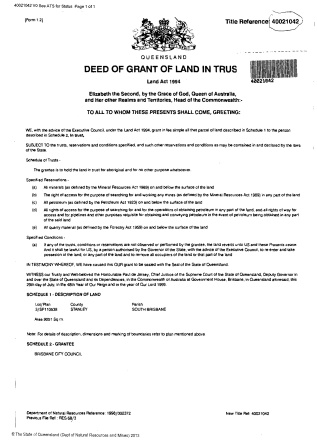 Deed of Grant in Trust