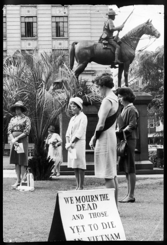 Every Friday afternoon for almost two years a small band of women wearing SOS sashes stood in Anzac Square in silent protest against the sending of conscripts to Vietnam.