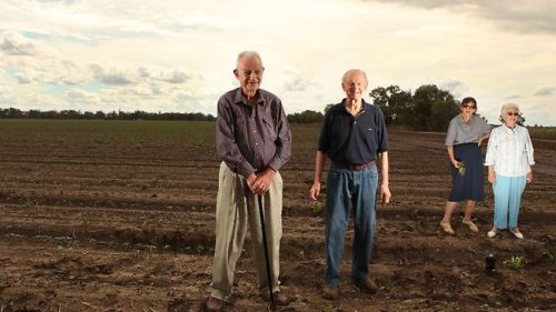 Paul Kahl, left, Frank Hadley, Jean Kahl and Norma Hadley first pioneered the Australian cotton industry, then helped make it a world leader. Picture: Adam Knott. Source: The Australian.