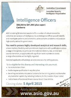 ASIO advert in Week End Australian 31 jan 2015