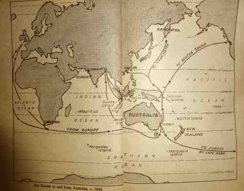 Sea Routes to and from Australia, c 1800