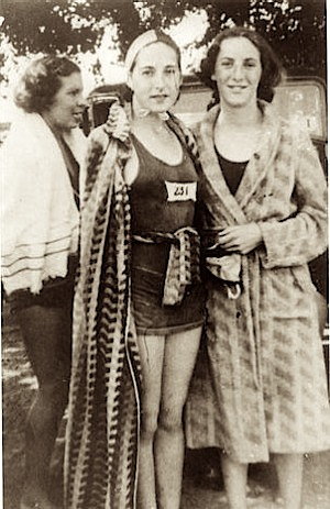 B Crawford, I Coeson, B Tippins from the Coburg Swim club who took part in a swimming race on the Yarra. Photo- Coburg Historical Society