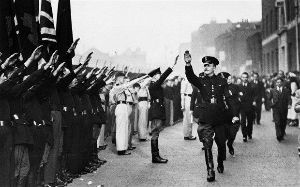 Oswald Mosley at a BUF parade, 1936.