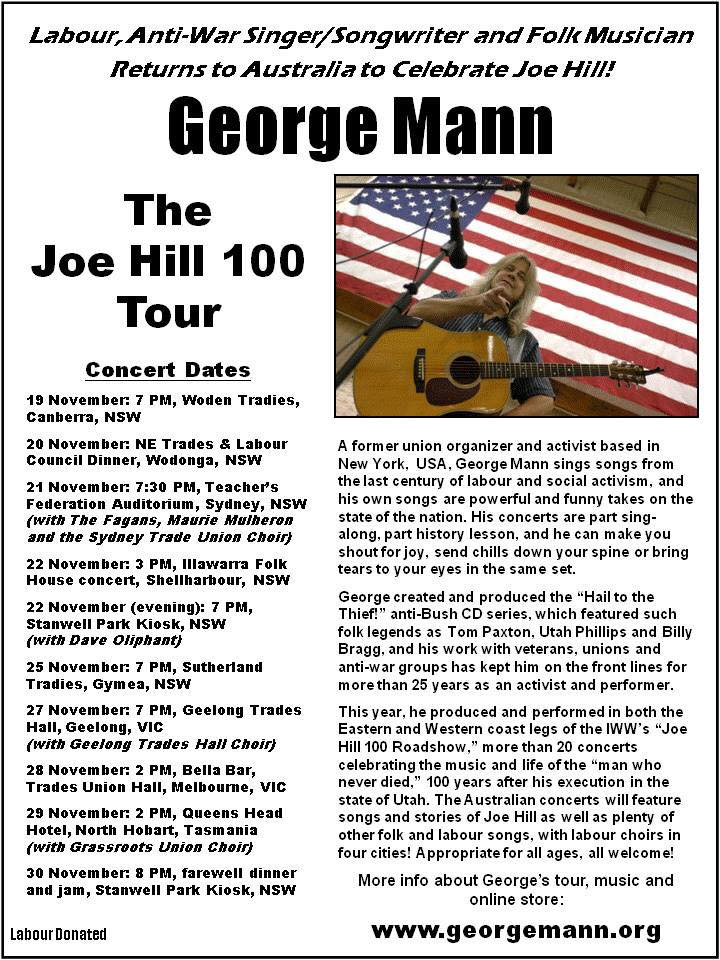 Joe Hill 100 Tribute Concert Tour by George Mann | Workers