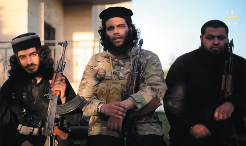 A still from a video released by ISIS militants in June 2015 called 'A Message to Our People in Jerusalem,' in which they threaten to overthrow Hamas in Gaza because the group is not extreme enough