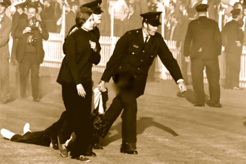 police arresting demonstrators at Springbok Rugby Union Game Brisbane 25 July 1971
