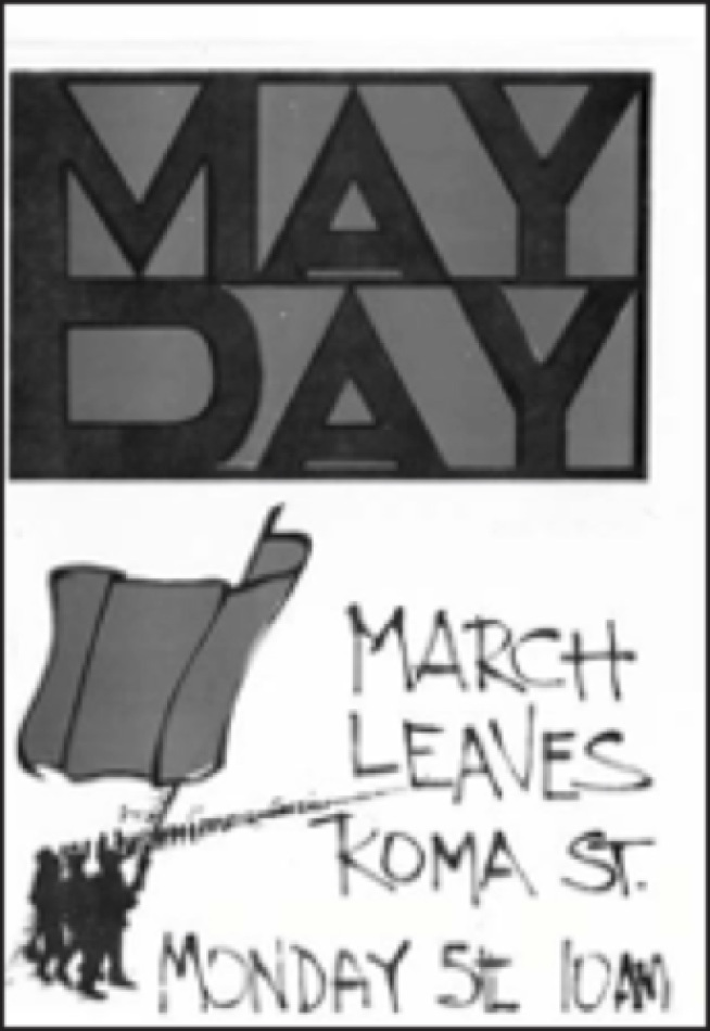 May Day Poster, 1969 Drawing on a romanticised revolutionary aesthetic, this poster sought to rally involvement in Foco's 'intervention'at May Day in 1969.